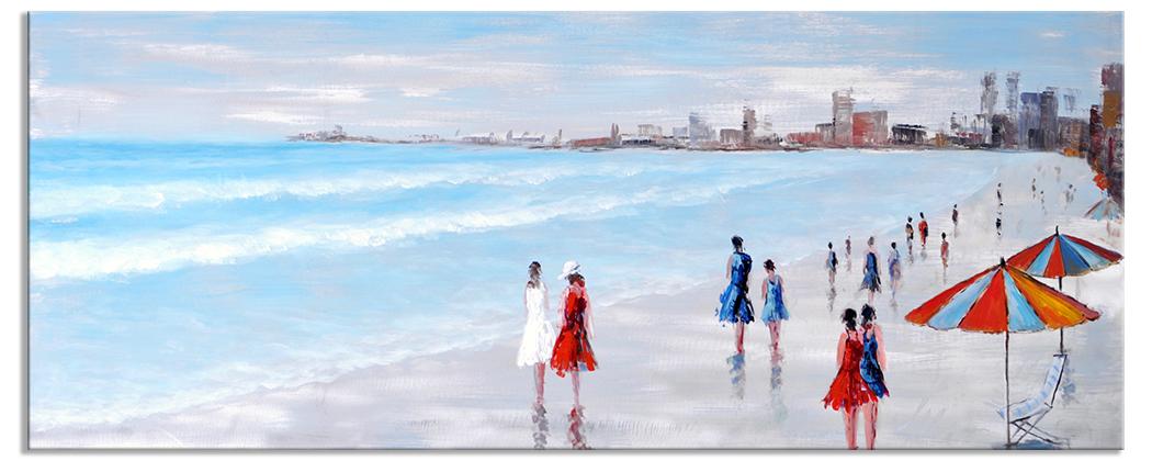 Landschap schilderijen the embankment of cannes 60x150 cm for Schilderij zeezicht