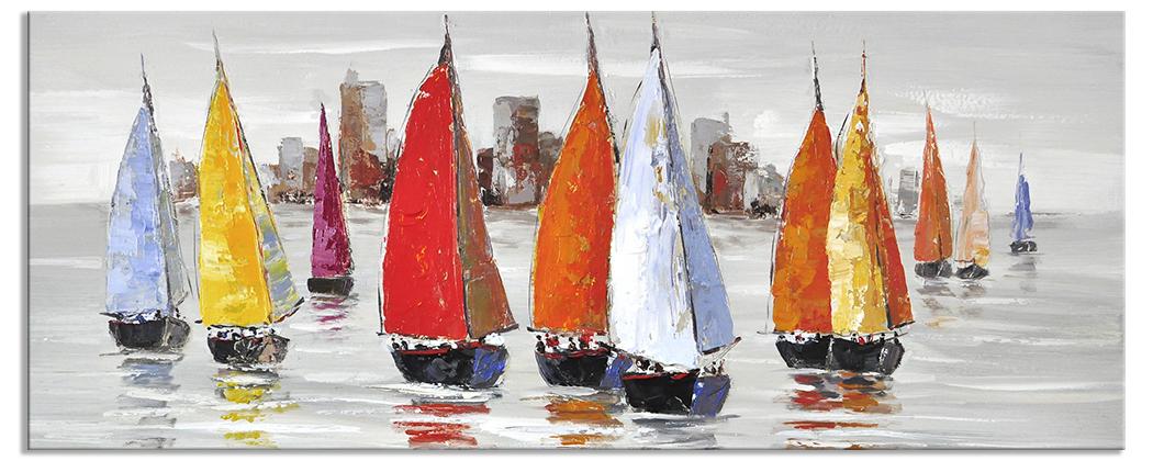 Pop art schilderijen traveling 60x150 cm for Schilderij zeezicht