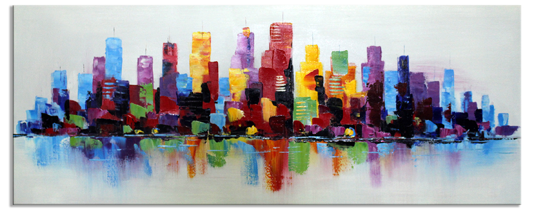 Vrolijke schilderijen new york in popart 60x150 cm for Skyline schilderij