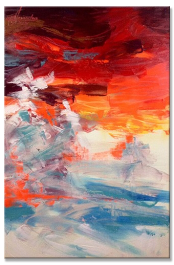 Sunset in the beach 60x90 cm