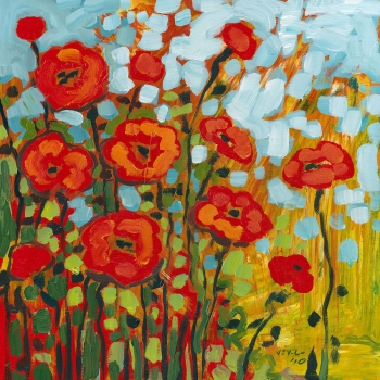 The poppies flowers 80x80 cm